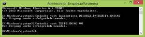 Testmode unter Windows 8 aktivieren